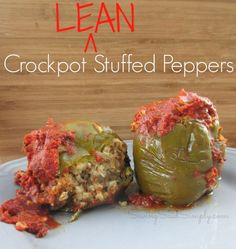 Easy Crockpot Lean Stuffed Peppers LEAN Crockpot Stuffed Peppers - enjoy a healthier crockpot stuffed peppers recipe, still with all the flavor! Easy to make! Slow Cooker Recipes, Crockpot Recipes, Cooking Recipes, Healthy Recipes, Amish Recipes, Budget Recipes, Chili Recipes, Quick Recipes, Clean Recipes