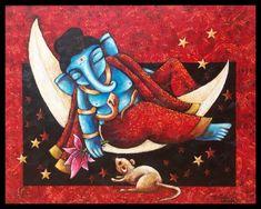 Ganesha Painting, Lord Shiva Painting, Moon Painting, Acrylic Painting Canvas, No Moon Day, Watercolor Art Lessons, Indian Folk Art, Indian Art Paintings, Buddha Art
