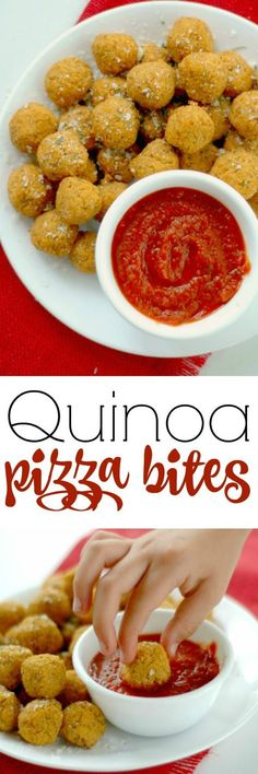 Quinoa Pizza Bites :: These power packed little pizza bites are loaded with balanced protein, antioxidant rich veggies, and with a big pizza flavor, the kids will never know! www.superhealthyk...