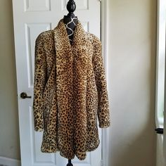 XS Faux Fur Cheetah Print Coat By Preston & York Sport Extra Small Animal Print #PrestonYork #BasicCoat