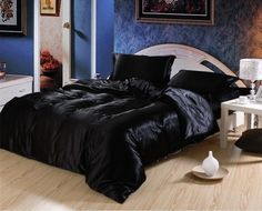 Luxury silk like four pieces bedding set bedding set duvet cover bed sheets solid color double satin bedding Satin Bedding, Black Bedding, Luxury Bedding, Linen Bedding, Bed Linens, Bed Sets, Bed Sheet Sets, California King, Bedclothes