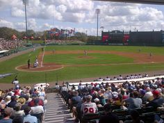 1st at bat of Braves spring training game!  I'm very jealous of the person who took this picture... ;)