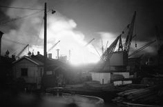 One of many fires started in Surrey Commercial Dock, London, on September 7, 1940, after a heavy raid during the night by German bombers.