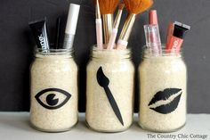 One of the best ways to organize makeup. We love these mason jar DIY ideas.