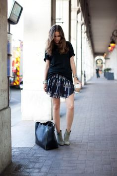 tee, skirt, and ankle boots