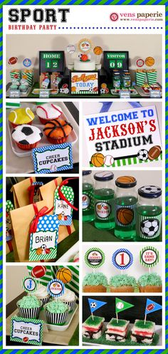 Sport Birthday Party Package Personalized FULL by venspaperie Sports Themed Birthday Party, Ball Birthday, Sports Party, 3rd Birthday Parties, Birthday Fun, Birthday Ideas, Birthday Basket, First Birthdays, Party Time