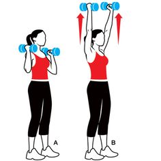 Sculpt Sexy Arms http://www.womenshealthmag.com/fitness/arms-workout Works shoulders, upper back, and biceps Grab a dumbbell in each hand and stand with your feet shoulder-width apart, knees slightly bent. Hold the dumbbells just above your shoulders, palms facing each other (A). Press the weights up until your arms are straight overhead (B). Hold for 1 second, then take 3 seconds to lower the dumbbells back to start. Do 6 to 8 reps.