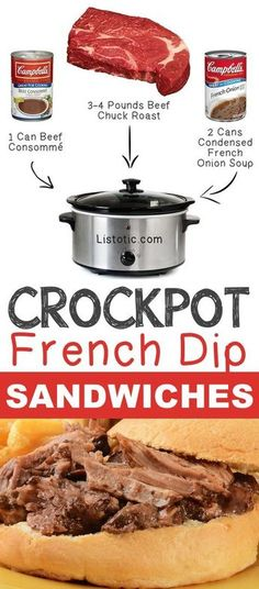 #4. Crockpot French Dip Sandwiches | 12 Mind-Blowing Ways To Cook Meat In Your… Healthy Meats, Almond Cakes, 3 Ingredients, Pot Roast, Crockpot, Carne Asada, Almond Shortbread Cookies, Slow Cooker, Crock Pot