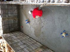 Concreting the bottom pond