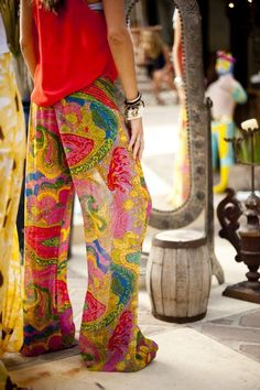 Gypsy style palazzo pants for a boho chic modern hippie look. FOLLOW http://www.pinterest.com/happygolicky/the-best-boho-chic-fashion-bohemian-jewelry-gypsy-/ for the BEST Bohemian fashion trends in clothing & jewelry.