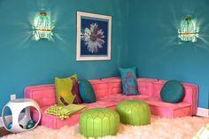 D2 Interieurs - girl's rooms - Currey & Co. Lana Wall Sconce, PB Teen Cushy Lounge Collection, playroom, play room, girls play room, girls p...