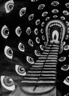 Le plus beau cauchemar 👀 Dali pour Hitchcock ! Psychedelic Art, Art Et Illustration, Illustrations, Art Inspo, Arte Obscura, Grafik Design, Surreal Art, Graphic, Oeuvre D'art