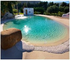 Biodesign I Natural Pool Beach Entry Pool, Backyard Beach, Beach Pool, Pool Sand, Lagoon Pool, Natural Swimming Pools, Diy Pool, Dream Pools, Swimming Pool Designs