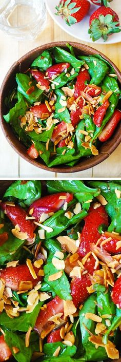 Spinach salad with strawberries, toasted almonds in a homemade balsamic vinegar based salad dressing. #gluten_free #paleo #healthy_recipes