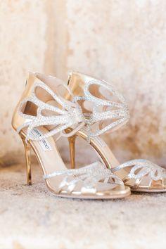 Jimmy Choo wedding shoes. gold. photo by Ace & Whim. Meggan and Slade's Glam Silverleaf Club Wedding #weddingshoes