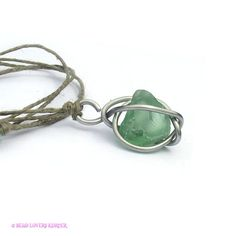 Sea Glass Jewelry Hemp Cord Necklace Mint Green by beadloverskorner, $14.99