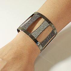 Bracelete Prata Leve c/ Glitter em Ródio Negro