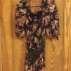 Black floral minidress with belt!!! B. Darlin dress from Dillard's, black floral print with scoop ruffle neck and ruffle and elastic sleeves that land at the elbow. Black braided belt included. Smoke free home!! B. Darlin Dresses Mini