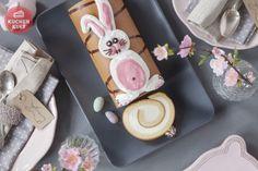 Zitronen-Sahne-Rolle mit Hasenverzierung, #Biskuitrolle zu Ostern mit Hase, cream roll with rabbit for easter