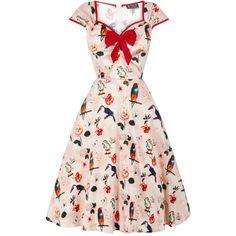 <p>Lady Vintage jurk met Macaw print, Sweetheart halslijn met afneembare strik, en jaren '50 stijl uitlopende rok.</p>