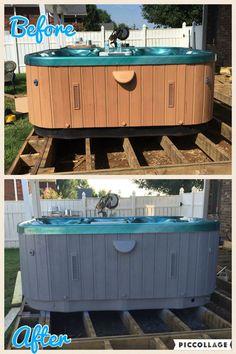 Refinished hot tub cabinet. Using Valspar exterior primer and paint.