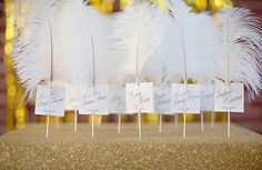 Preston Bailey, Preston Bailey's Bride ideas, Bride Ideas, Feathered Escort Card, feathers, escort card, seats, guests, wedding, event