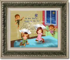 "No More Monkeys Jumping on the Bed Caricature From Your Children's Photos. 11""x14"" Framed in a Silver Ornate Frame"