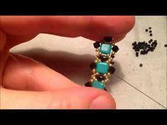 Video creazioni #33: Bracciale e orecchini con perline - square stitch, herringbone, raw - YouTube