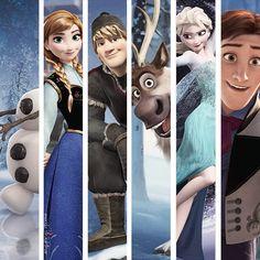 Frozen: Olaf, Anna, Kristoff, Sven, Elsa, and Hans