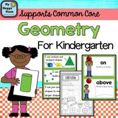 Geometry: Shapes and Positional Words for Kindergarten(Common Core)This product is part of a money-saving bundle!This unit is full of resources to help you teach your kindergarten students about flat and solid shapes and positional words. These flashcards, mini-anchor charts, I can statements, and 23 printable worksheets will all Support your teaching of the Common Core geometry standards .