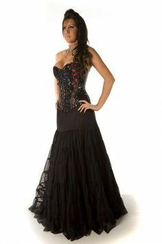 Rara long skirt black satin/black mesh overlay