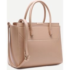 SheIn(sheinside) Apricot Faux Leather Handbag With Strap (64 BAM) ❤ liked on Polyvore featuring bags, handbags, shoulder bags, hand bags, beige purse, faux leather handbags, handbags shoulder bags and handbag purse