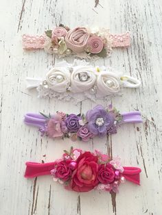 Includes all 4 headbands. Felt Headband, Baby Flower Headbands, Newborn Headbands, Baby Bows, Diy Hair Bows, Making Hair Bows, Ribbon Hair, Hair Bow Tutorial, Flower Tutorial