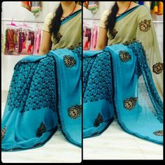 Buy Georgette Sarees Blue Online Shopping: justforbuy.com