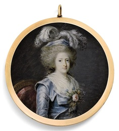 Miniature of Madame Élisabeth, sister of Louis XVI, who was guillotined in May 1794.    This was painted by the Marquis de Lubersac
