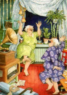 Вечером, гуляя по интернету, я встретила вот этих задорных финских бабушек. Они дают жару всему миру, показывая, что уметь жить полной жизнью — это важно! Их создает финская художница Inge Look. Настоящее её имя — Ингеборг Lievonen, она родилась в Хельсинки в 1951 году. Она когда-то была профессиональным садовником, но сегодня она иллюстратор. Она создает открытки, которые собирают любители по всему миру.