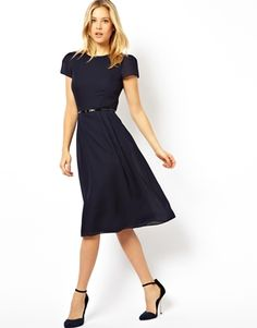 Image 4 ofASOS Simple Midi Skater Dress With Belt.  It comes in green, too.