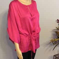 ⚡️Clearance⚡️Micheal Kors Flowy Top Hot pink flowy top...cinch waist. No holes, stains or picks. 100% polyester. Tag says small but this will fit a medium also. MICHAEL Michael Kors Tops Blouses