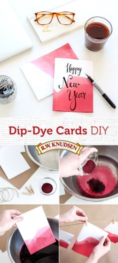 Be ready for any occasion with these cute and crafty DIY dip-dye greeting cards. Just add dye powder to a bowl of water and submerge blank stationery for several seconds. Repeat for a bold and layered look. Hang to dry, then decorate with a handwritten message.