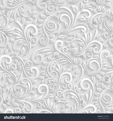 Vector Floral 3d Seamless Pattern Background. For Christmas and Invitation cards decoration