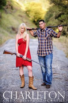 Unique engagement photo with a beautiful couple holding their guns, and in California. this would be fun to do :)