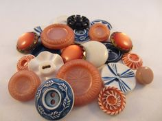 Vintage buttons. Cottage chic mix of blue white and by JessEBees, $8.95