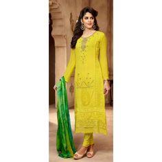 Eid Special Designer Georgette Yellow Color Salwar Kameez - 13048( ML-699 )