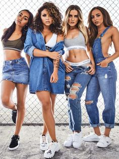 Cover girls: Little Mix stars (l-r) Leigh-Anne Pinnock, Jesy Nelson, Perrie Edwards and Ja. Trend Fashion, Fashion Mode, Denim Fashion, Look Fashion, Fashion Outfits, Paper Fashion, Little Mix Outfits, Little Mix Girls, Little Mix Style