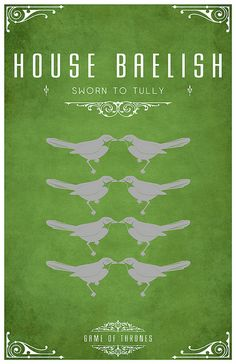 "House Baelish is a minor and small vassal house that holds fealty to House Arryn of the Vale. The Baelish seat is a rude and small towerhouse on the smallest of the Fingers, the rocky peninsulas that make up much of the Vale's coast along the Narrow Sea.  Lord Petyr Baelish: popularly called ""Littlefinger"", the only living member of the House.   Master of Coin on the King's small council."