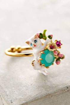 Le Chat Blanc Ring by Les Nereides Cat Jewelry, Jewelry Rings, Jewelry Accessories, Jewellery, Kawaii Jewelry, Sparkly Jewelry, Trendy Accessories, Enamel Jewelry, Silver Jewelry