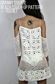 Granny Square Beach Cover-Up Crochet Pattern