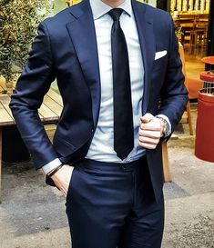 When Tie Length Matters Mens Fashion Suits, Men's Fashion, Gents Suits, Mens Tailored Suits, Dark Blue Suit, Suit Combinations, Suits Season, Herren Outfit, Business Outfit