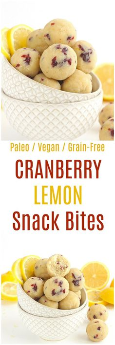 Cranberry Lemon Bites - These Cranberry Lemon Bites are the perfect paleo and vegan snack. Made from a combination of almond flour and coconut flour, these grain-free bites are deliciously tart! paleo dessert with coconut flour Vegan Sweets, Healthy Sweets, Vegan Snacks, Healthy Snacks, Paleo Vegan, Diet Snacks, Vegan Raw, Quick Snacks, Healthy Protein