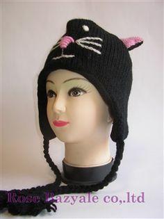 Woolen Animal Hand Made Knit Hat Black Cat!